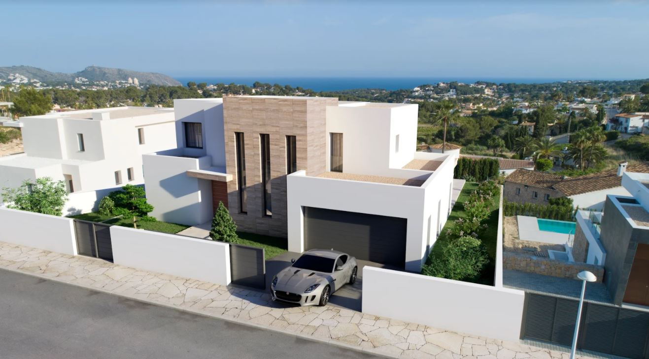 Luxury villa under construction for sale in Moraira with sea views.